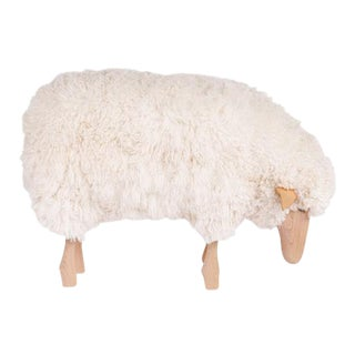 White Curly Wool + Beech Wood Small Grazing Sheep Stool For Sale