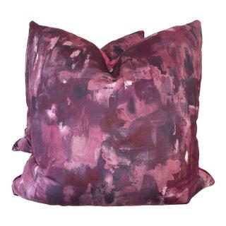 "Clarke & Clarke ""Palette Damson"" 22"" Pillows-A Pair For Sale"