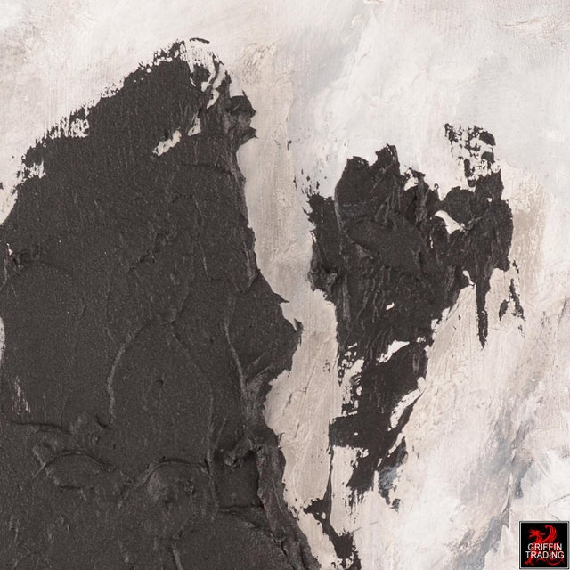 2010s Black Matter Textured Abstract Painting For Sale - Image 5 of 8
