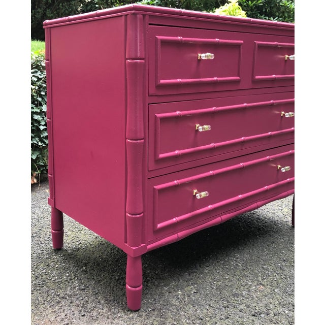 Faux Bamboo Three Drawer Bachelor Chest For Sale - Image 4 of 9
