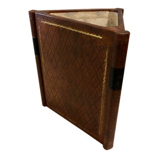 Leather Embossed Italian Library Book Figurative Waste Basket, Lined For Sale