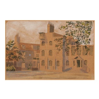 Vintage Watercolor of English Manor For Sale