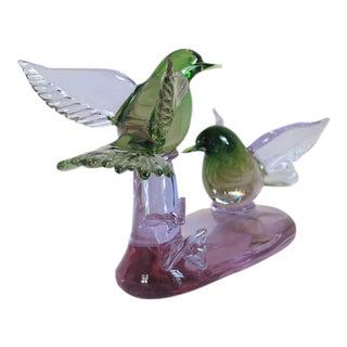 Signed Venetian Purple Alexandrite Art Glass Bird Sculpture For Sale