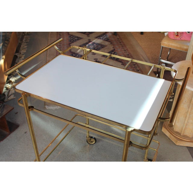 Vintage Mid-Century Brass and Glass Bar Cart - Image 6 of 9