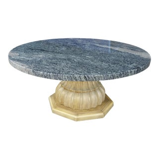 1970's Regency Style Marble Top Coffee Table For Sale