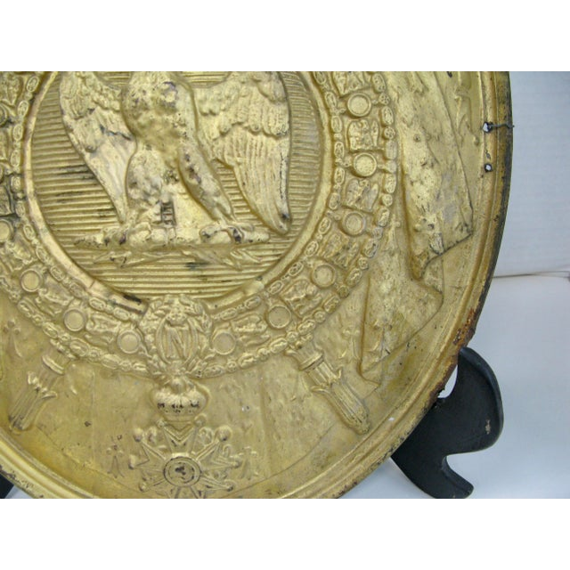 Antique French 1st Empire Brass Oval Notary Plaque For Sale - Image 4 of 13