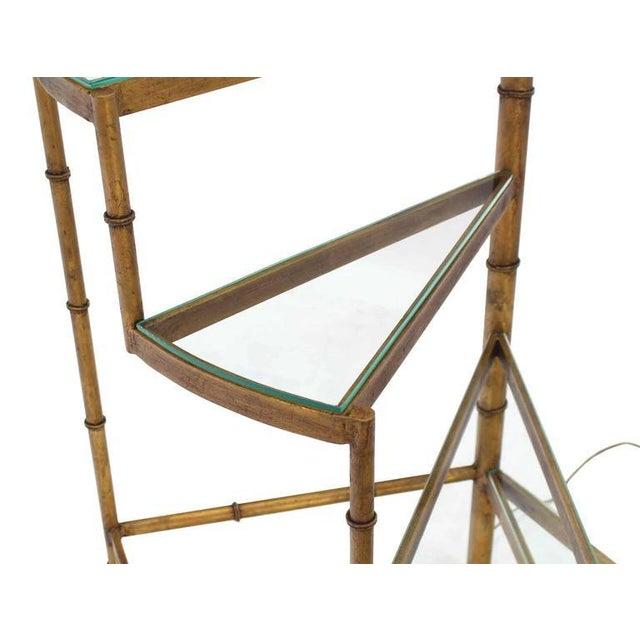 Mid-Century Modern Step Shelves Faux Bamboo Gilt Base Floor Lamp For Sale - Image 4 of 10