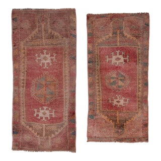 "1'7"" X 3'6"" Muted Color Pair of Small Rug Floor Mats, Decorative Traditional Handwoven Oushak Yastik Bath Mats Door Mat For Sale"
