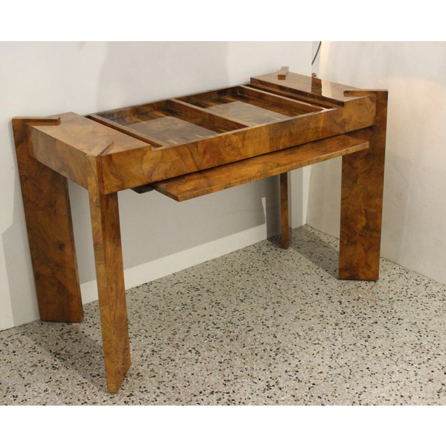 Modern Olive Wood Games Table Backgammon Removable Tray Top Italy 1970s For Sale - Image 3 of 13