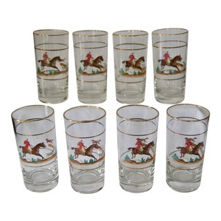 1970s Hand-Painted Hunt Scene Highball Glasses by Federal - Set of 8 For Sale
