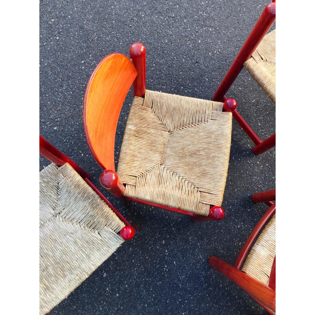 Ruby Red Hank Lowenstein Rush Seat Dining Chairs Made in Italy- Set of 8 For Sale - Image 8 of 13