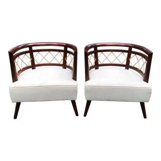 1960s Contemporary Scandinavian Milo Baughman Barrel Back Chairs - a Pair