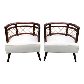 Pair of Milo Baughman (Attributed) Barrel Back Chairs For Sale