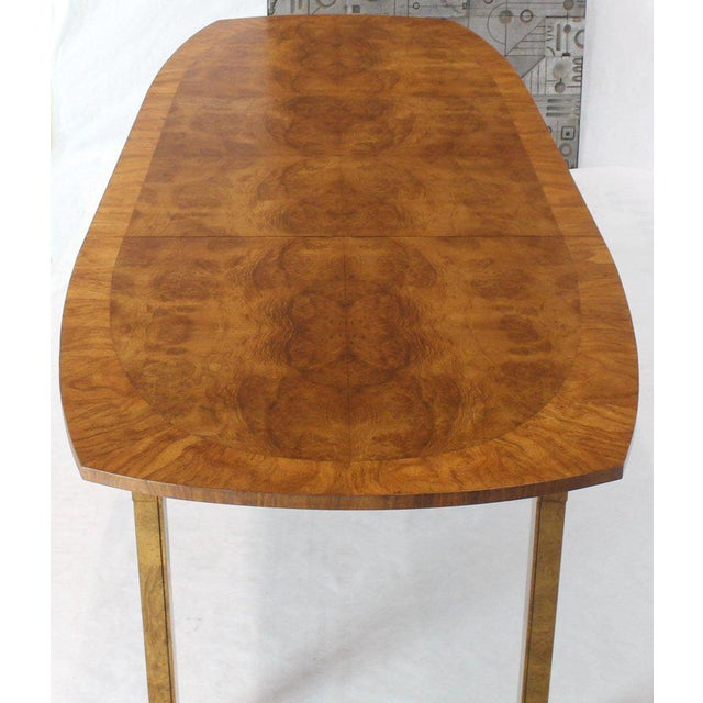 Oval Boat Shape Banded Burl Wood Dining Table With 2 Leaves Extensions For Sale - Image 9 of 12