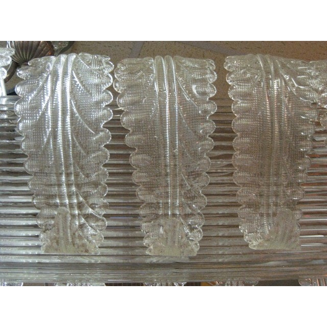 Mid 20th Century Very Large and Long Barovier E Toso Handblown, Frosted Glass Rectangular Chandelier For Sale - Image 5 of 10