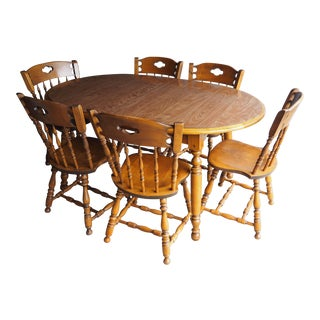 American Formica Top Wood Dining Set