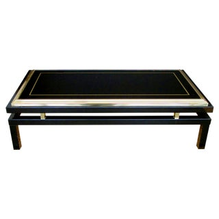 Stylish French Black Enameled Metal Rectangular Coffee Table by Guy Lefevre For Sale