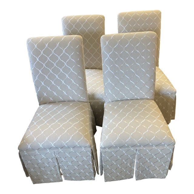 1960s Vintage Parsons Style Slipper Chairs - Set of 4 For Sale