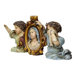 17th Century French Hand-Carved Polychrome Sculpture With Virgin Mary and Putti For Sale