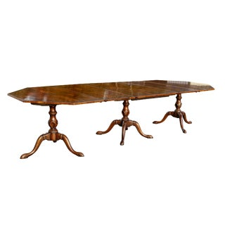 Georgian Style Walnut Three-Pedestal Dining Table For Sale