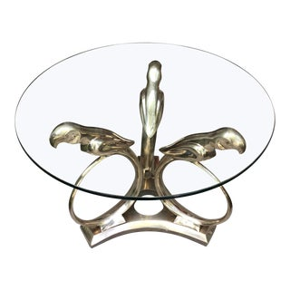 1970s Vintage Alain Chervet Solid Brass Coffee Table** For Sale