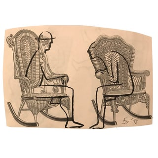 """Figures Seated in Victorian Wicker Chairs"" Collage & Drawing by James Bone For Sale"