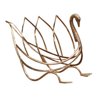 Midcentury French Brass Swan Magazine Rack From Maison Jansen For Sale