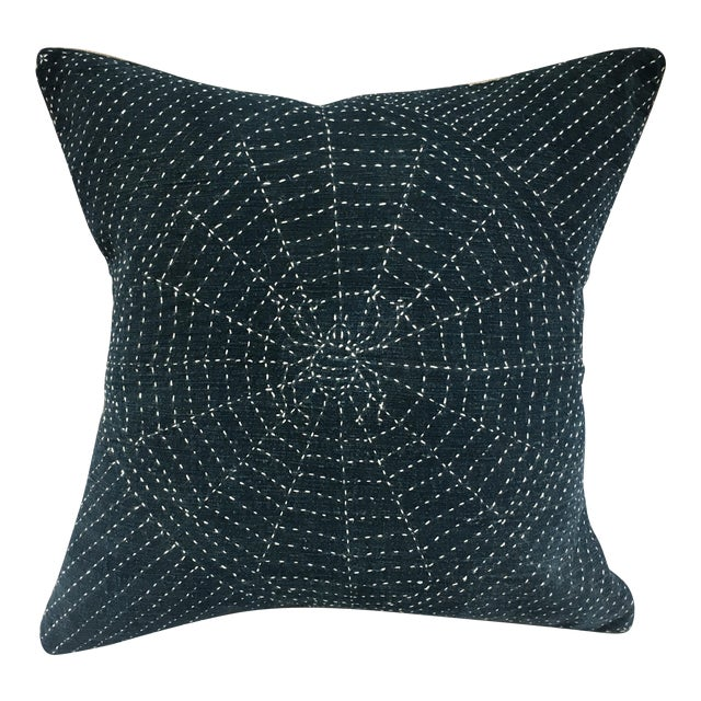 Antique Indigo Pillow with Hand Stitched Spider Web - Image 1 of 7
