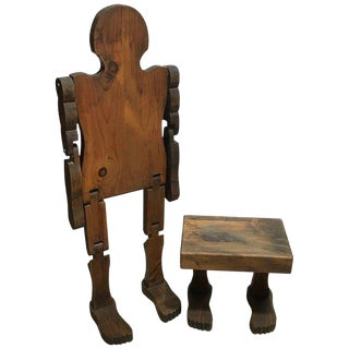 """American Folk Art Standing Articulated Man With """"Footstool"""" For Sale"""
