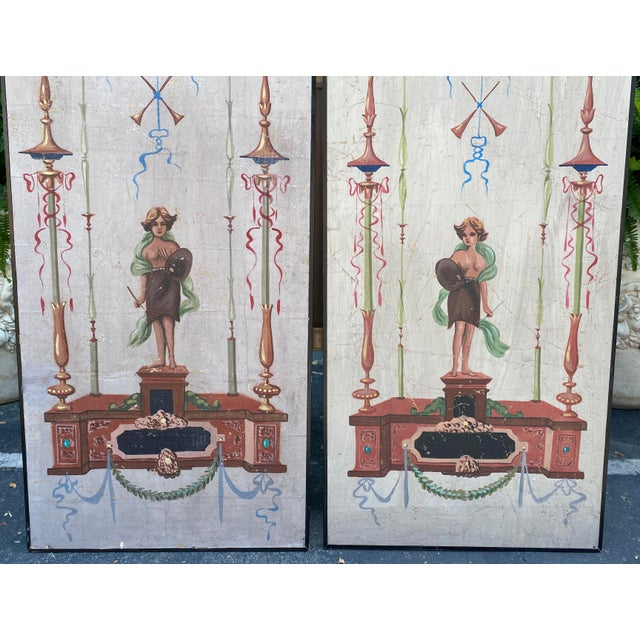 1940s Vintage Handpainted Tromp l'Oeil Neoclassical Panels - a Pair For Sale - Image 5 of 7