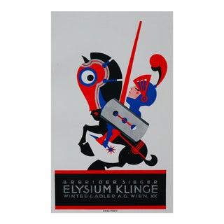 1923 Austrian Art Deco Poster, Brrrr! Der Seiger Elysium Klinger (Razor Blade) For Sale