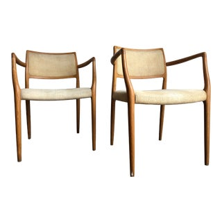 Vintage Mid Century Modern Danish Dining Armchairs by j.l. Møllers Denmark (A Pair) For Sale