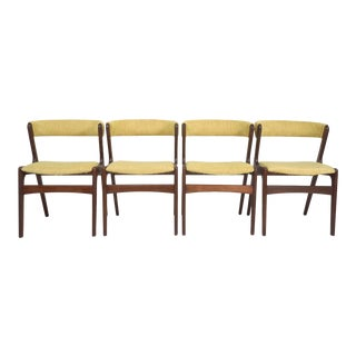 Vintage Danish Modern Kai Kristiansen for Schou Andersen Teak Rosewood Fire Dining Chairs- Set of 4 For Sale
