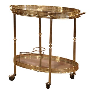 Early 20th Century French Polished Brass Two-Tier Oval Bar Cart on Wheels For Sale