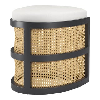 Isabella Demi Stool - Black Iron, Optic White Linen For Sale