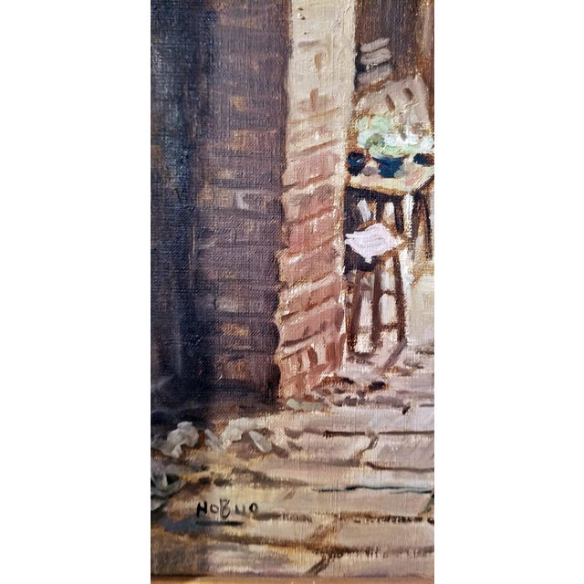 White Hiyashi NoBuo Oil on Canvas - Street Arch For Sale - Image 8 of 11
