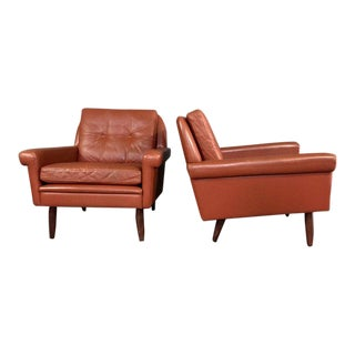Pair 1960s of Danish Leather Lounge Chairs For Sale