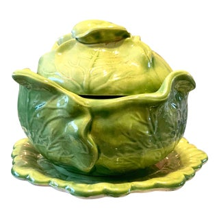 1950s Cabbage Leaf Bowl/Tureen For Sale