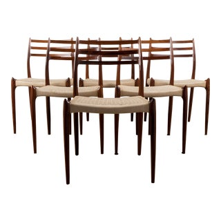 Rare Set of Six Niels Moller Rosewood No.78 Model Dining Chairs For Sale