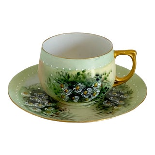 M&Z Austria Hand Painted Daisies Teacup & Saucer For Sale