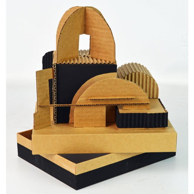 Abstract Cubist Bauhaus Style Architectural Cardboard Table Sculpture by Virgil Greca For Sale - Image 3 of 13