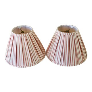 Custom Box Pleat Lampshades With Ticking Strip - a Pair For Sale