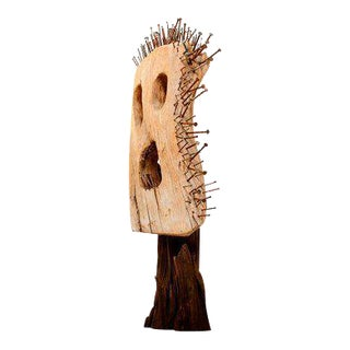 Abstract Wood and Nails Sculpture Mask For Sale