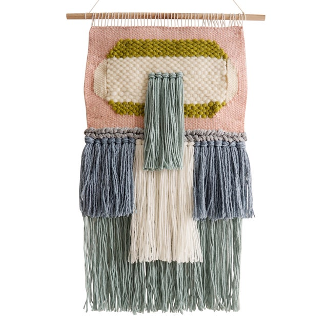 Handwoven Pink Blue & Green Wall Hanging - Image 1 of 3