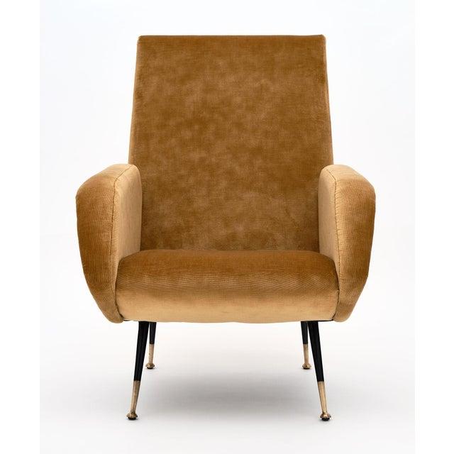 Gold Velvet Vintage Italian Armchairs For Sale In Austin - Image 6 of 10