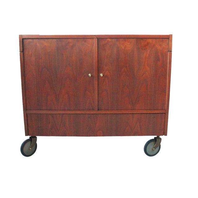 Vintage Mid-Century Rolling Bar Cabinet For Sale