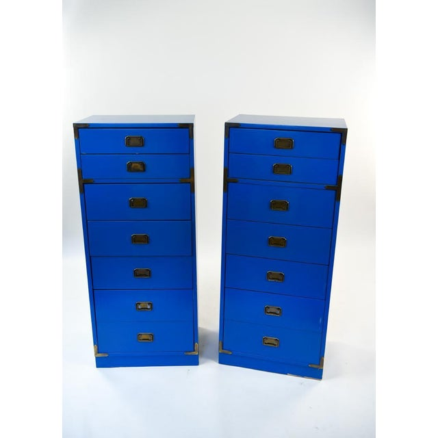 Mid Century Campaign Style Blue Tall Chests of Drawers-a Pair For Sale - Image 10 of 13