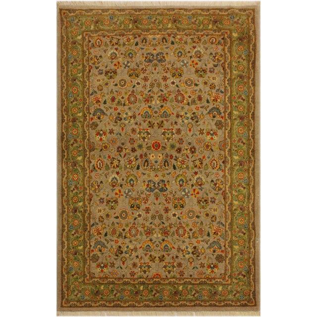 Green Istanbul Crysta Lt. Gray/Lt. Green Turkish Hand-Knotted Rug -4'2 X 6'3 For Sale - Image 8 of 8