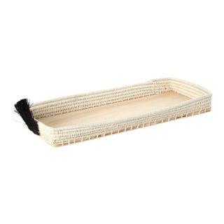 Fan Sisal & Wood Bread Basket Cream/Black For Sale