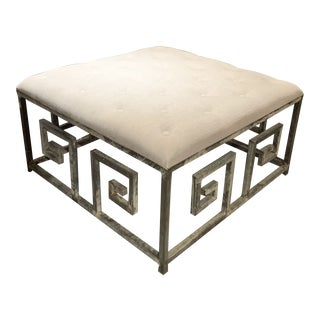 Dove Grey Linen Greek Key Ottoman in Oyster White Finish by Ella Home For Sale